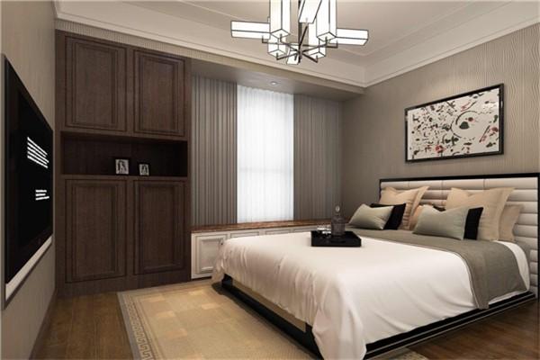 老人房更着重舒适度,在空间色彩方面采用了灰色系,营造了一种轻松睡眠的环境。衣柜与飘窗连着,整体性更强