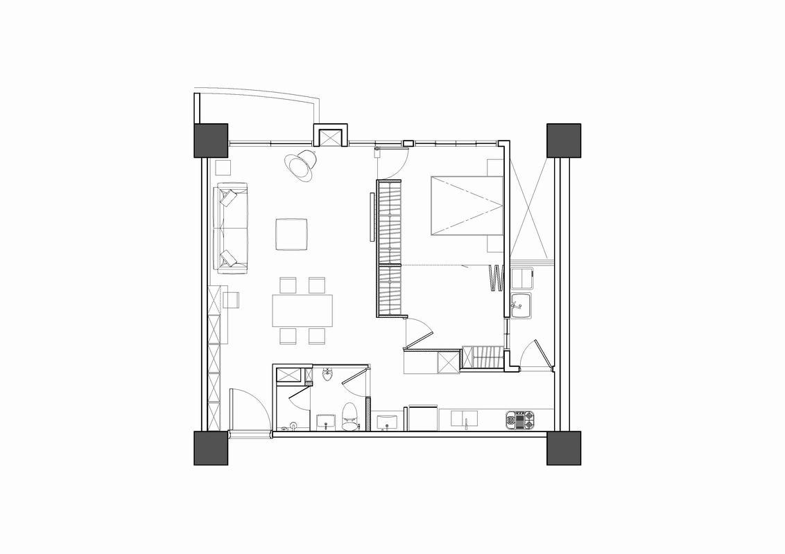 户型设计为方形,方正实用,餐厅、客厅和阳台相连,空间视野更宽。