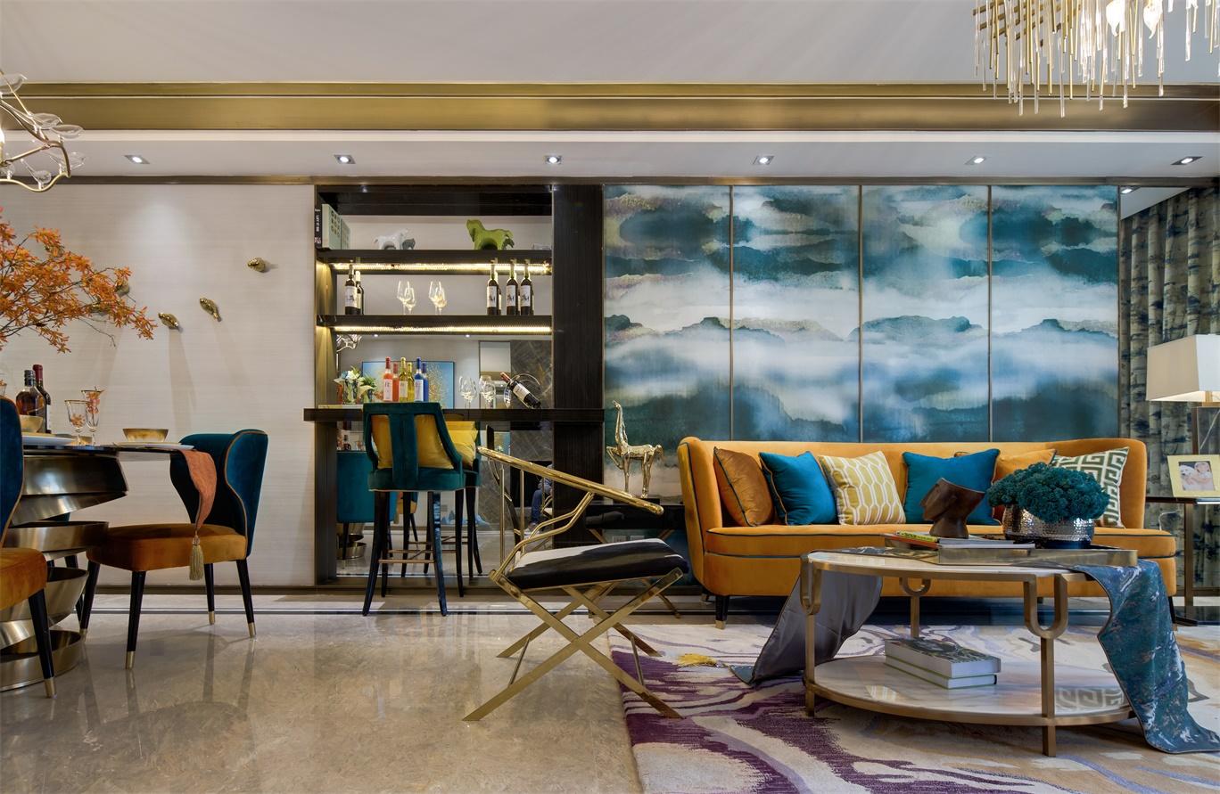 客厅将中式气韵完美融合在细节之处,营造出清雅矜持的空间氛围。