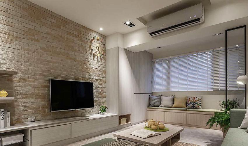 电视墙以文化石堆砌而成,黄白交接的色阶带来丰富层次。