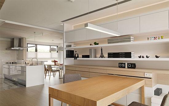浅木色柜体搭配白色调柜与层架的规划,增添休闲感,预先安排的线槽设计,体贴未来生活所需。