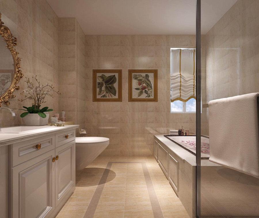 浴缸和淋浴间以干湿分区的设计,满足主人的沐浴需求,白色盥洗柜搭配黄铜挂镜,简中多了精奢。