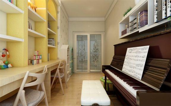 书房又作为钢琴室使用,黄色的组合书架设计,让空间更具明快之感。