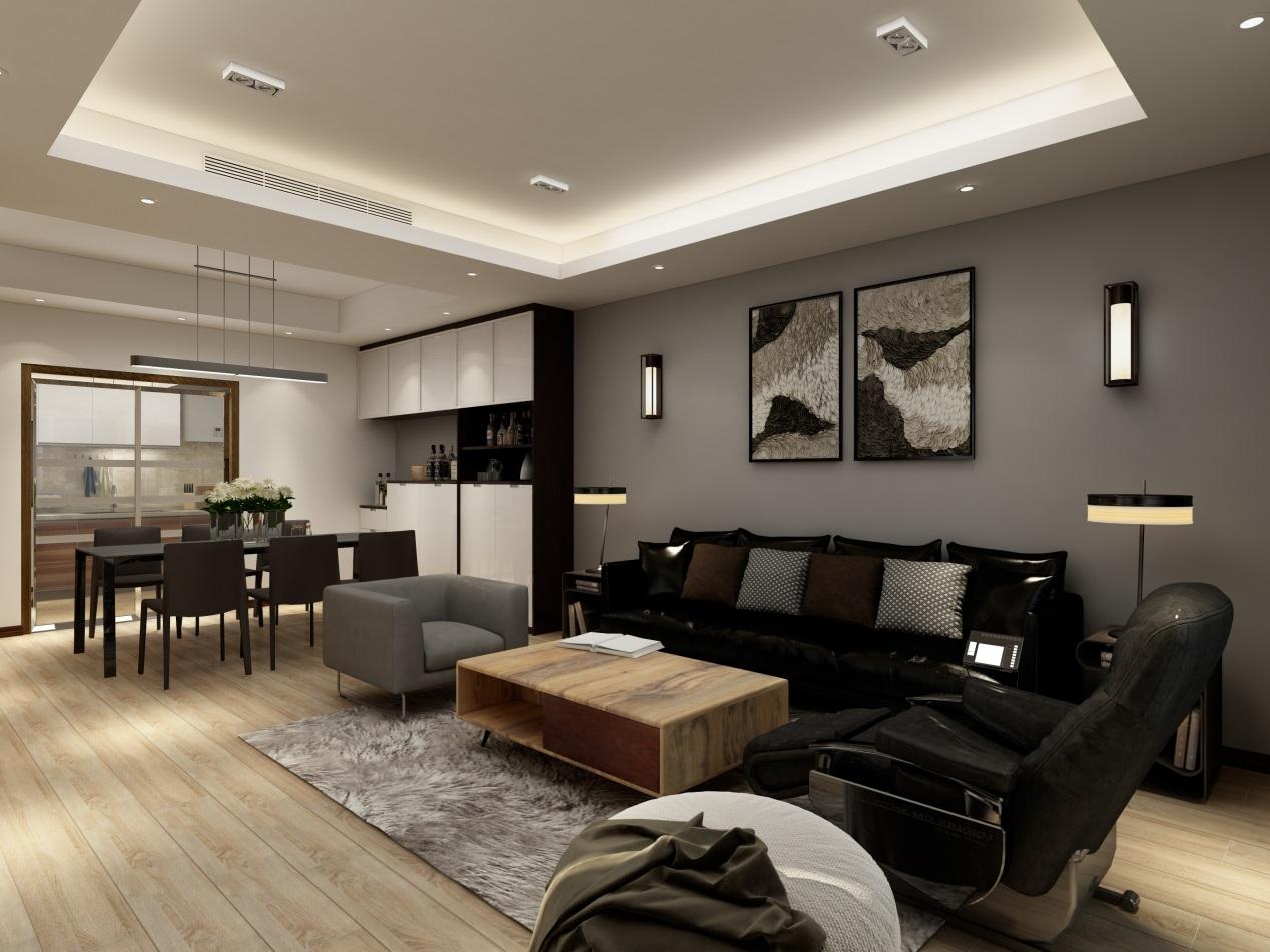 玄关入室,一系列的黑白灰色系,视线从黑色沙发爬过灰色墙面,来到展示收纳功能齐全的餐边柜;
