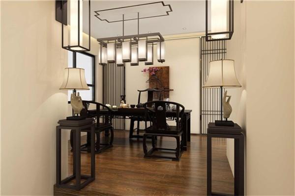 茶室的格调也是充满着古典之味,自带气场的黑木家具,背景一副立体的梅花挂画,中式的优雅韵味随之即来。