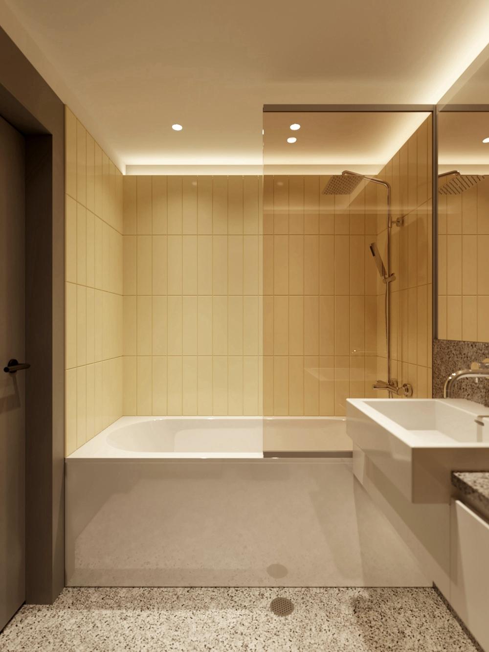 衛生間依舊是去繁就簡的原則,幹隔斷幹濕分離設計有效隔絕了氣味和水漬。