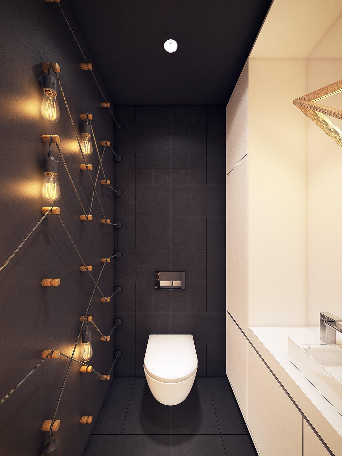 厕所黑色墙面挂满了别致的小吊灯,显得整个空间温馨