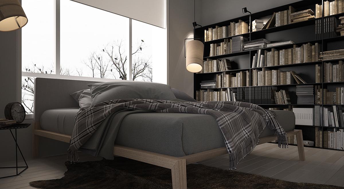 卧室的空间上借用了书房,整体看起来整洁干净,富有文艺气息。