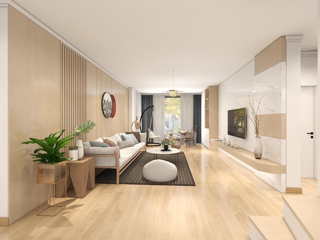 整个客厅以木色和白色为主调,再加上绿植的衬托,使整个房间看起来更加的温馨明亮。