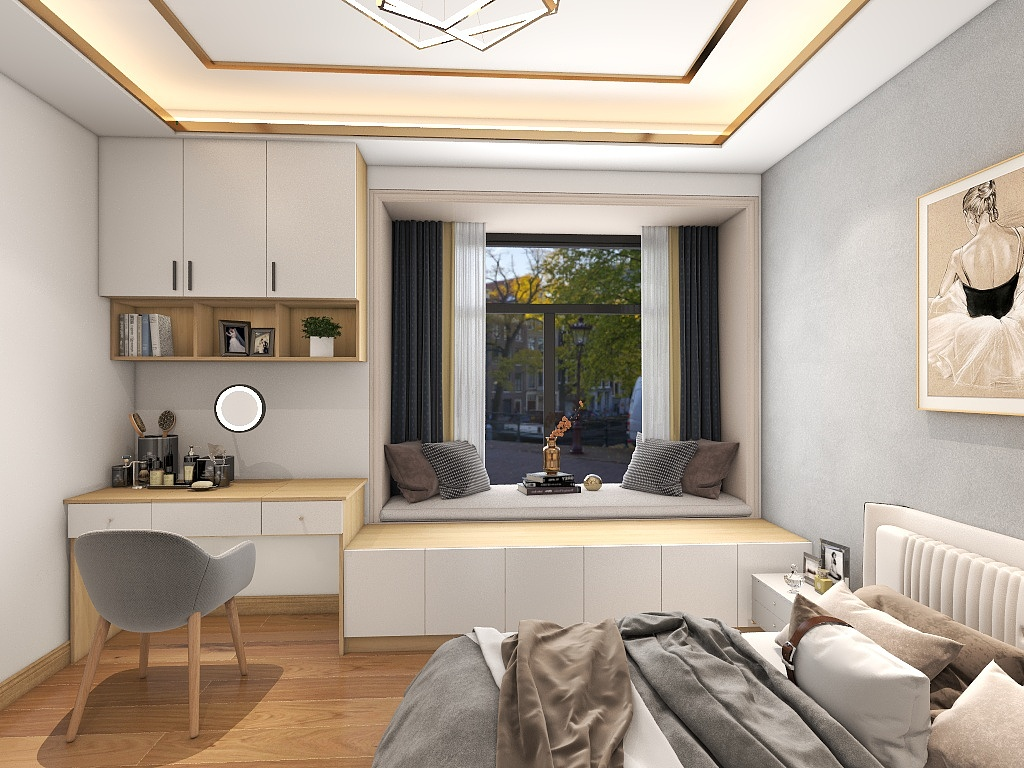 主卧墙面使用灰色净色设计,搭配白色皮质床头,刻画出线性质地,飘窗设计一体化效果强烈。