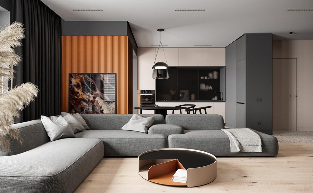 灰色空间中构筑出一个充满现代感的客厅空间,局部使用橘色瓦楞板与茶几点缀,提升了室内色感。