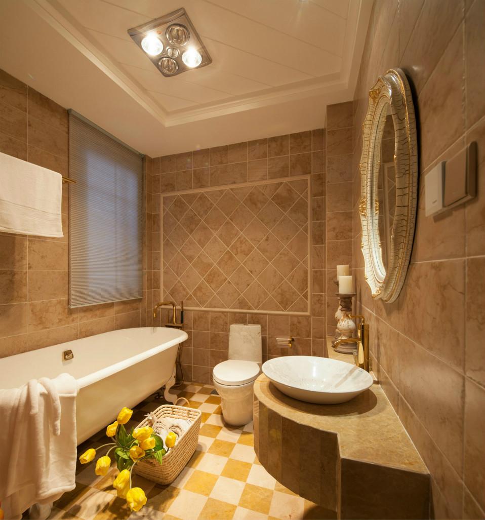卫生间洗手台设置在卫生间侧面,洗手台容易看清污垢也非常漂亮。