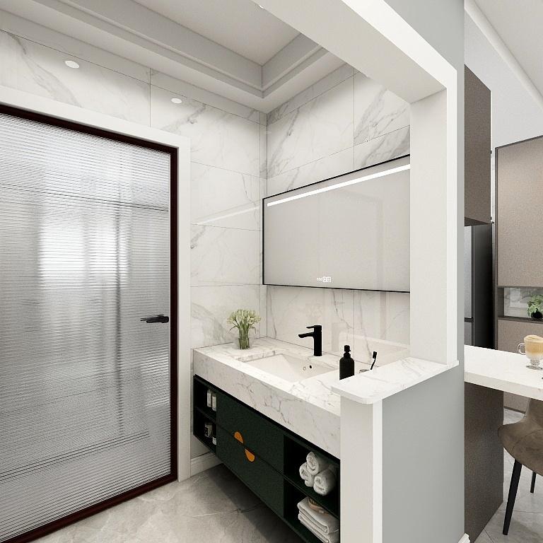 衛浴間鄰近廚房,洗手池外移設計,白色大理石條形打造,使用寬敞。
