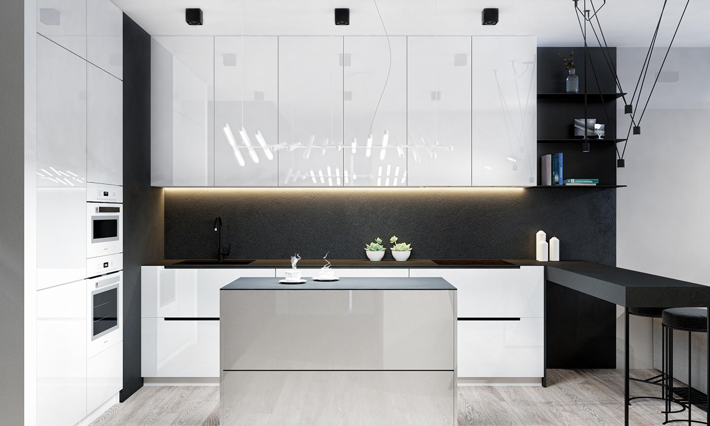 厨房也是黑白搭配的色调,做了充足的收纳,方便更好的置放家具用品