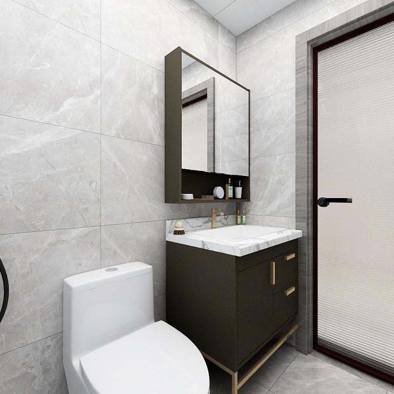 衛浴間能給人以平靜的感覺,大面積使用淺色背景后,搭配黑色洗手柜,打造出一個冷靜的空間。