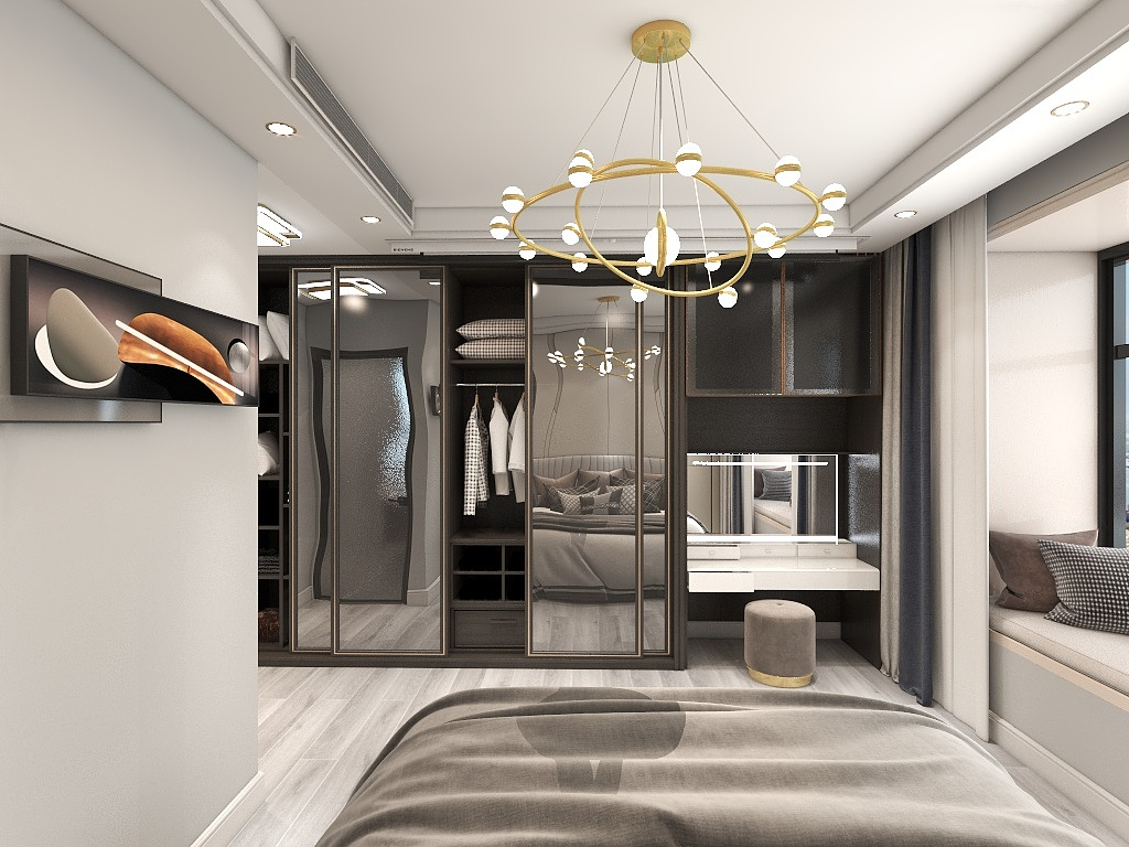 侧卧装修很简单,黑白灰衣柜看上去十分沉静,镜面、灯具、装饰画起到点缀效果。