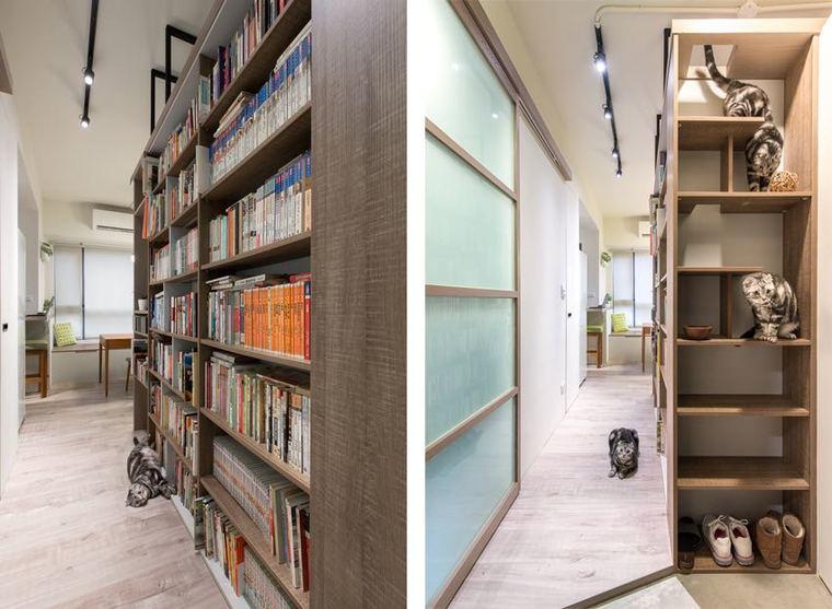 盒子的一麵利用同色係的木質打造出大容量的儲物櫃|新沂style,屋主的書籍得到很好的安放|-优彩彩票靠谱吗。