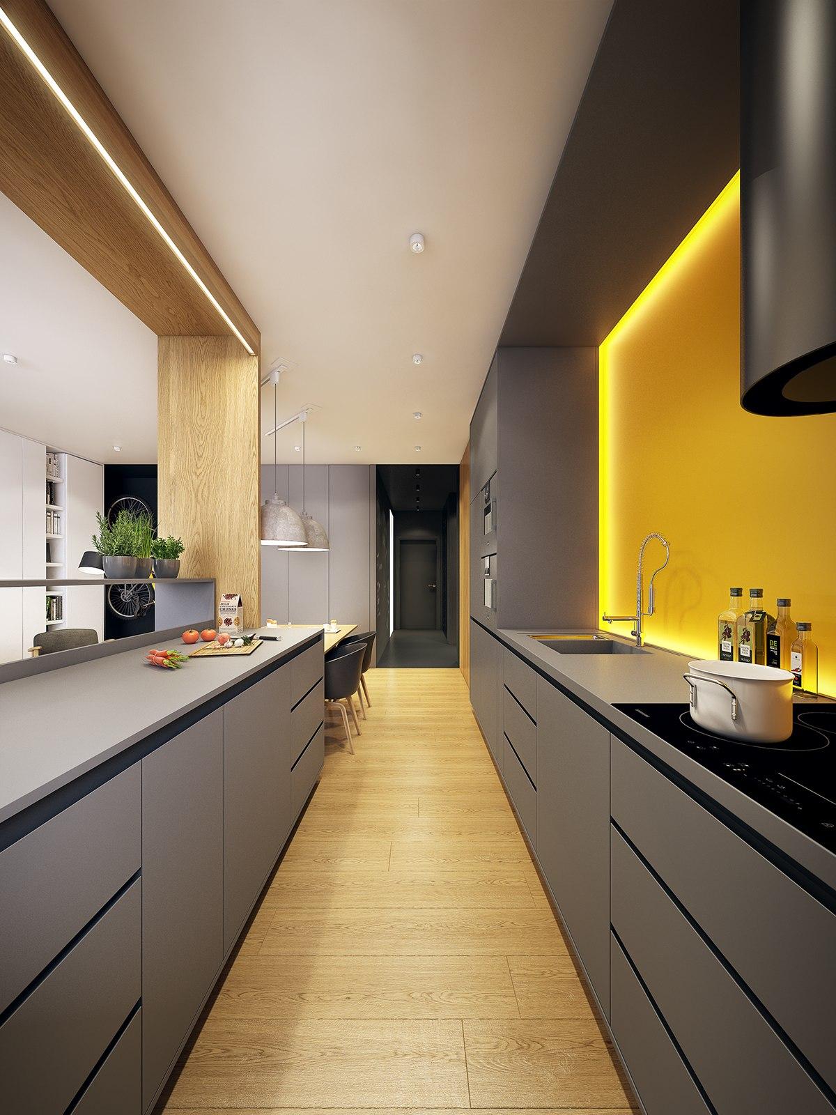 厨房则是以自然灰色布艺软包为框,搭配上有着棕色原木,很是自然静谧。