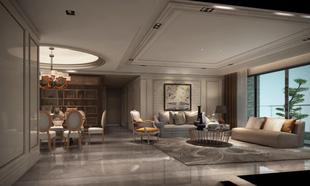 客餐一体格局,色调和谐,沙发背景采用护墙板打造,搭配浅色布艺沙发,彰显中式整体感。