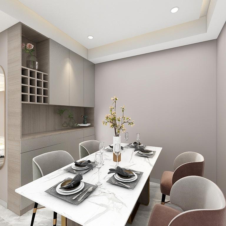 餐邊柜作為空間隔斷,提升了用餐環境的私密性,白色餐桌搭配暖色餐椅,干凈利落且不失時尚感。