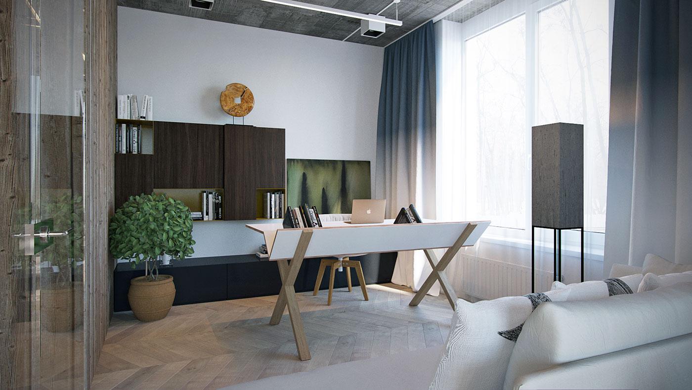 书房简约的风格放置了一个书桌,方便阅读和休闲。