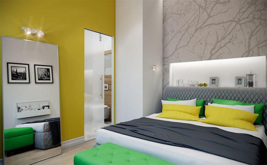 卧室床头柜摆放了很多小装饰品,也颇有现代时尚感