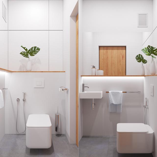 一楼的卫生间,拥有简洁的线条,空间虽小,装备可不比别人差。