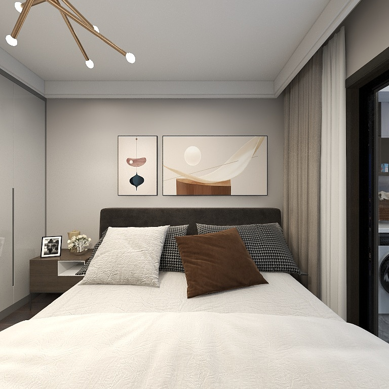 臥室設計素雅,背景墻裝飾醒目而又不張揚,絨質床頭凸顯現代優雅風范。