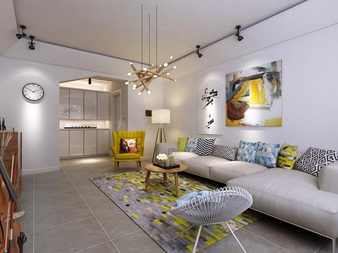 极具个性的吊灯成为客厅的一部分。