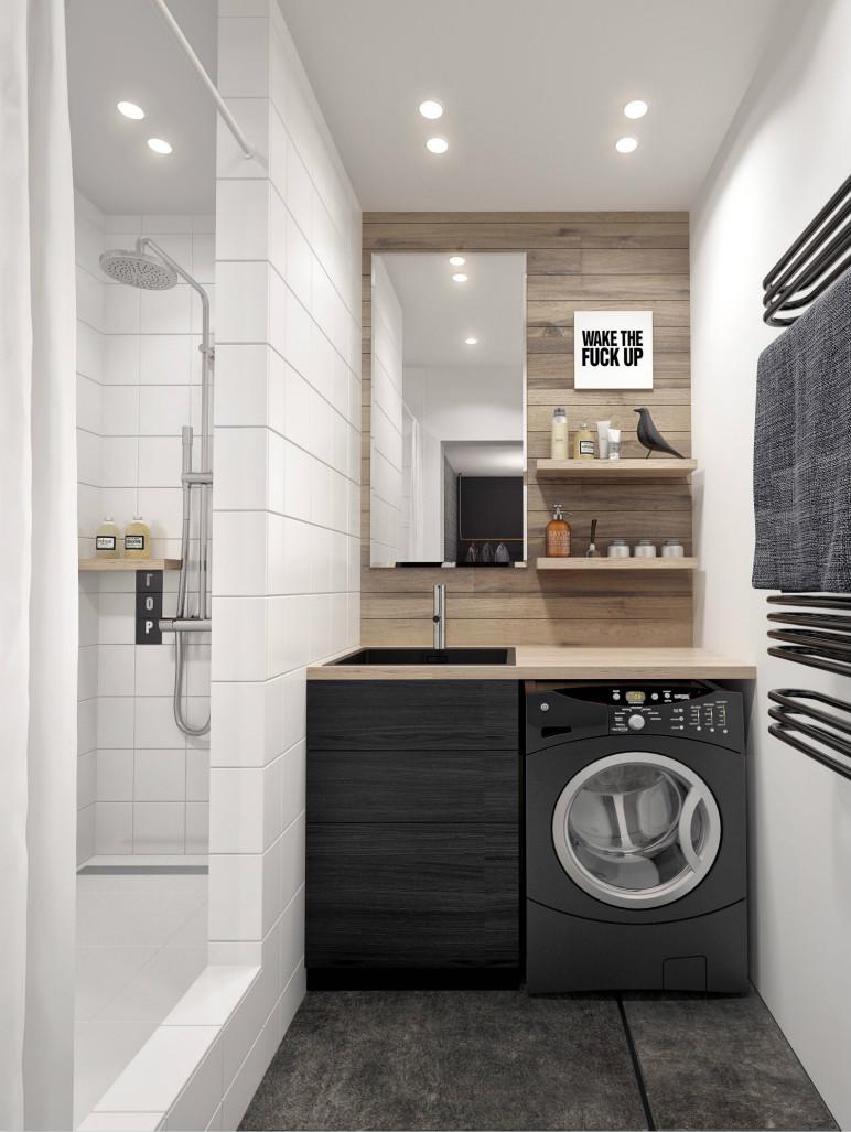 卫生间利用新建墙体厚度,做出一个具有强大收纳功能的镜柜。