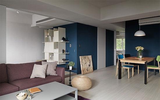 大片轻浅舒缓的色调,营造一贯纯粹干净的氛围,又以鲜明的海军蓝及贵族紫来跳色,让个性化的风格流转于室。