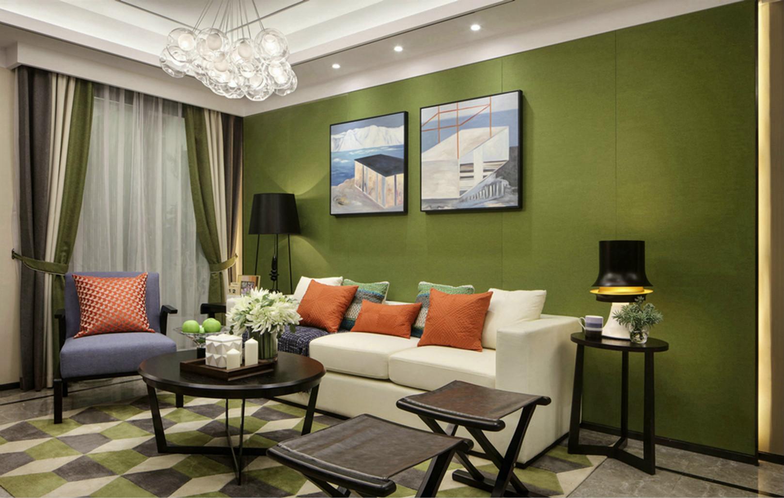沙发背景墙以绿色为主,挂着画像配上黑色台灯,与整体相协调,连成一体。