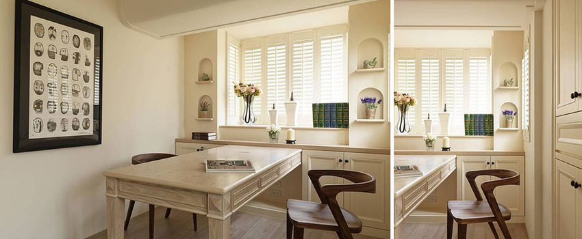 除了依循老屋的窗台线条增设造型展示柜外,设计师另请木工师傅量身订制四人用书桌。
