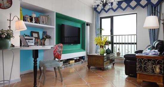 具有视觉冲击感的天蓝色,作为墙面的主色调,起到提亮小空间的效果。