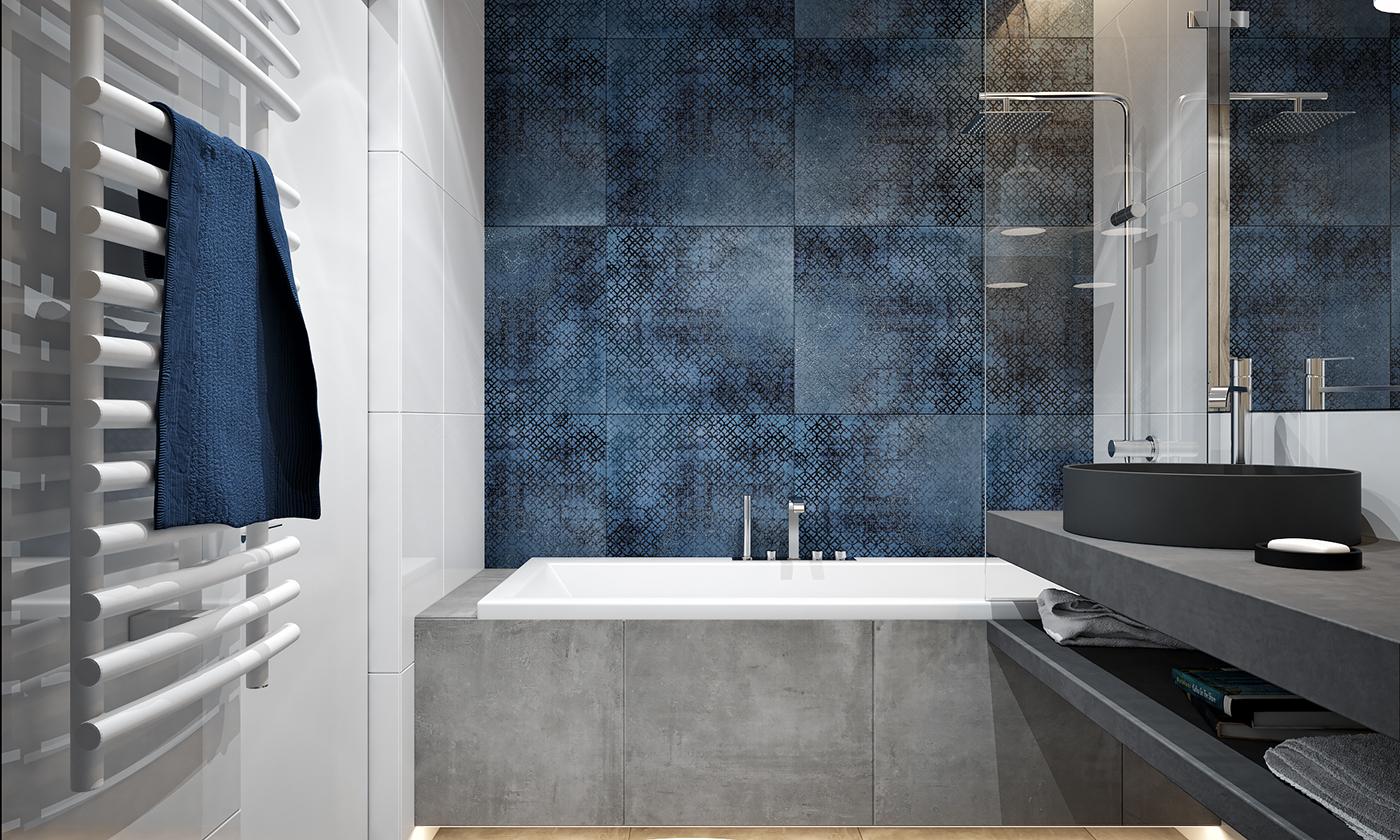 卫浴背景墙蓝色为主,塑造视觉亮点。