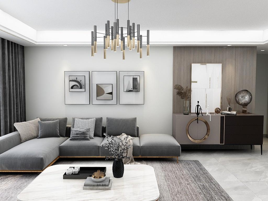 背景墙采用拼接的造型层次,使得空间的高度没那么压抑,并采用金属质感的装饰进行点缀。