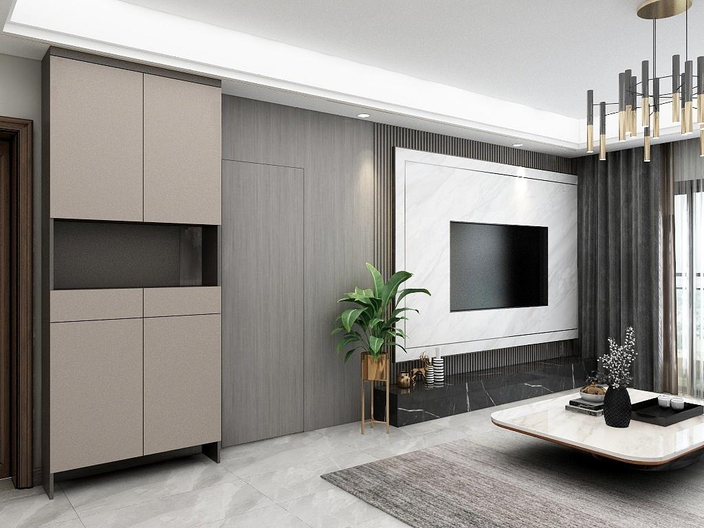 电视墙拼接设计十分巧妙,木质花架,茶几、盆栽作为空间点缀,没有复杂的造型,有的只是通透。