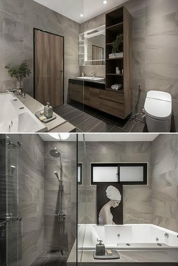灰色石材纹路搭配沉稳木纹质地,并规划完整的卫浴设备,打造出有如五星级饭店般的卫浴空间。