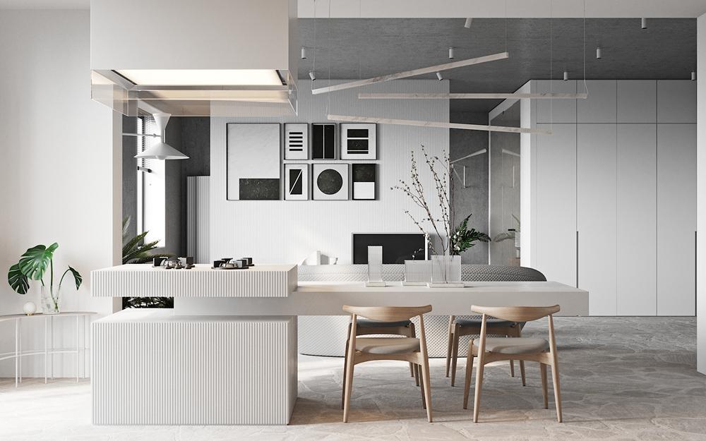 岛柜延伸出餐桌,使餐厅空间得到延伸,搭配木色座椅,时尚大气。
