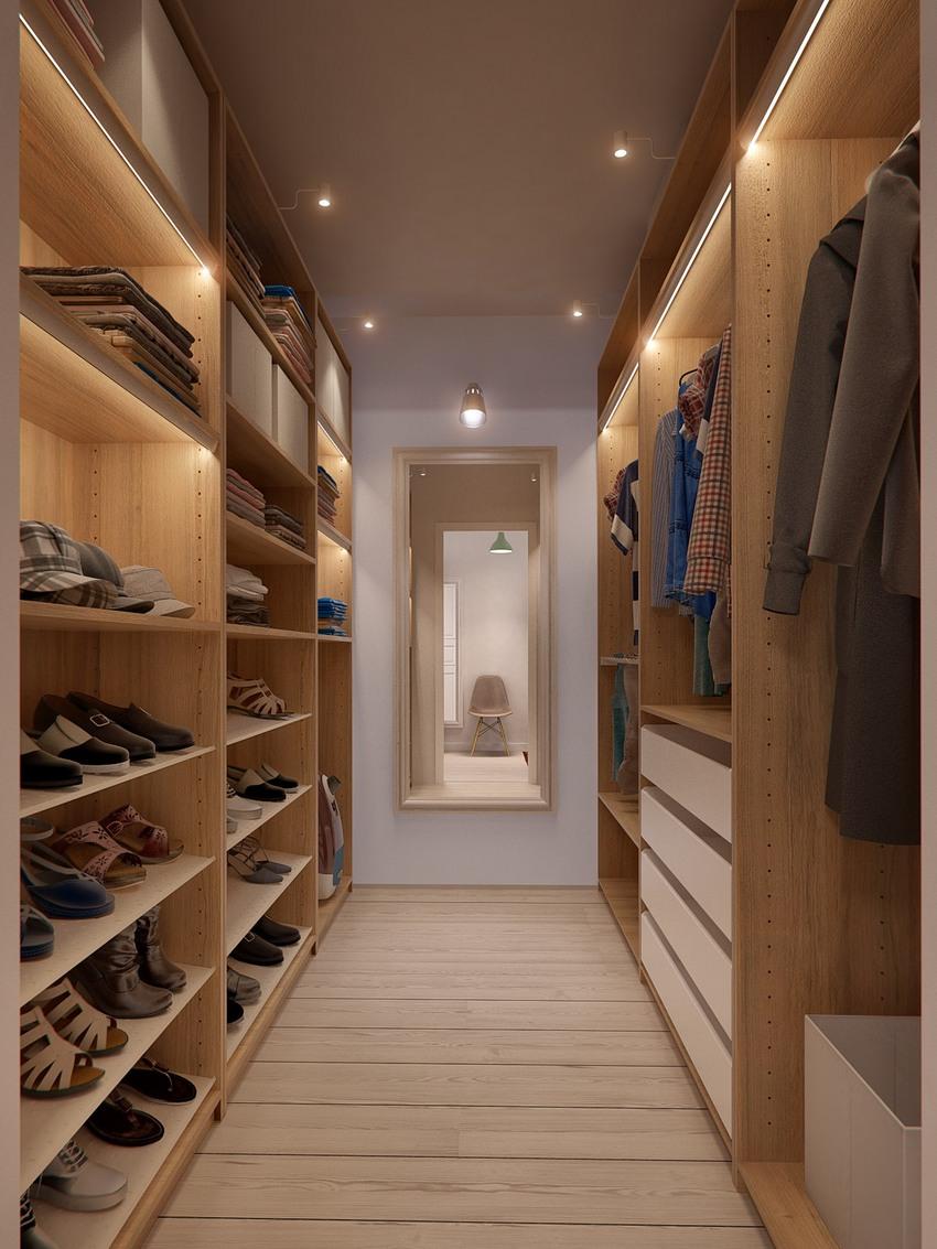 卧室没有衣柜,衣帽间却满足了衣物收纳。