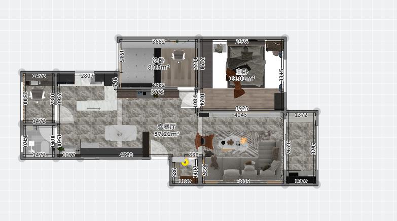 该户型为实用户型,客厅,餐厅与阳台相连,采光性与通透性好,卧室集中分布,远离动区.