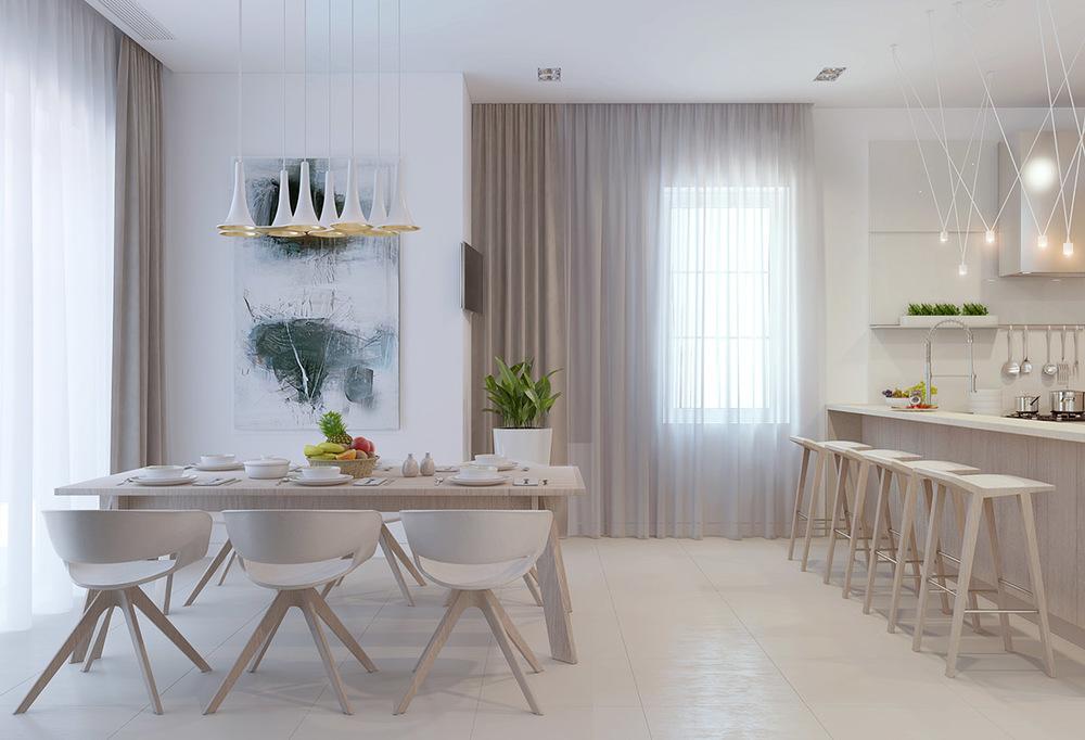 餐桌背景高雅的素描画,以及精致别致的吊灯,格外突出