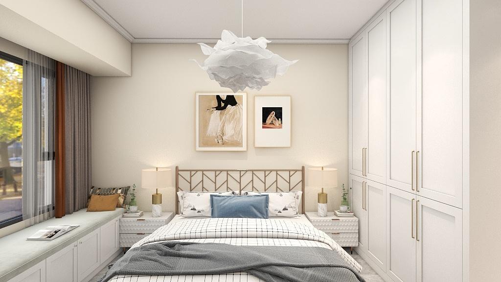 嵌入式衣柜使视觉更加精简,米色背景墙与白色软装的结合,更符合小业主的年龄特点。