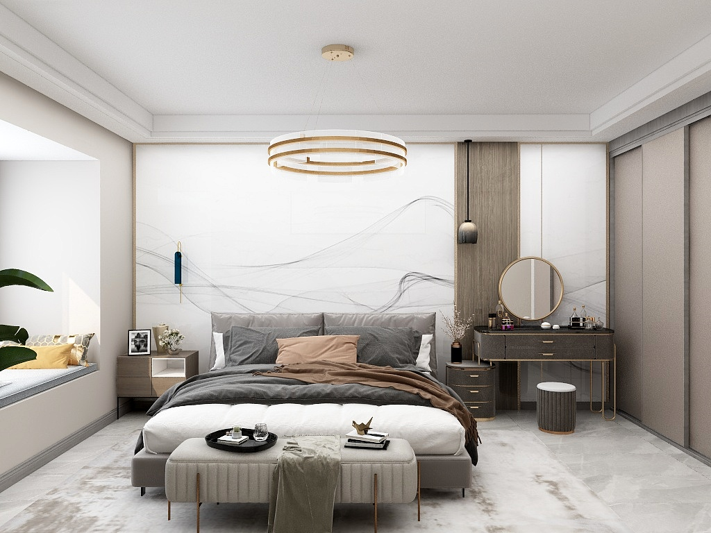 床品、梳妆台都采用了咖色元素,色调却深浅不同,带着纯净又温暖的气质,让人非常有归属感。
