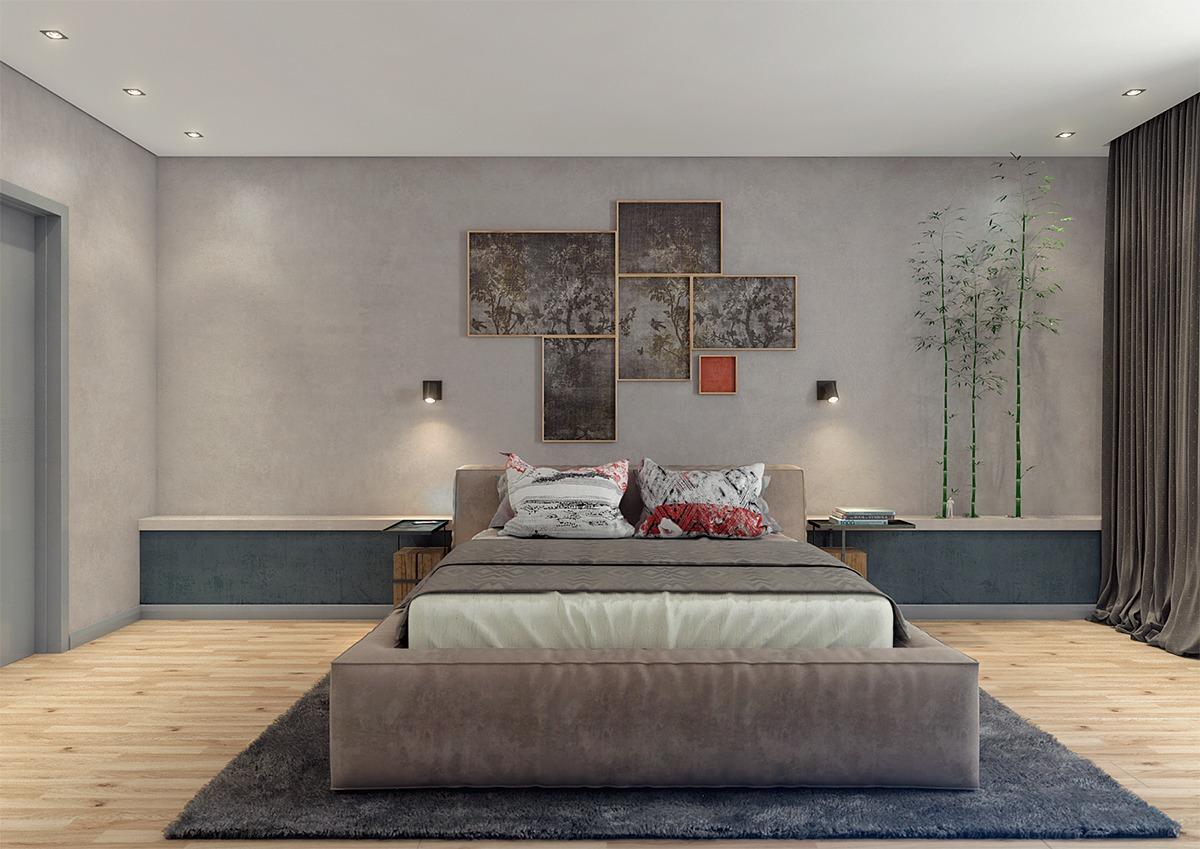 卧室平稳的中间色,卧室的灯光照明上,吸顶灯是个很好的选择。