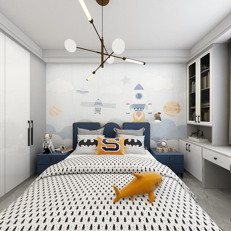 卡通背景墻搭配童趣床頭,男孩房顯得童趣又充滿設計感,整個房間顯得十分溫馨。