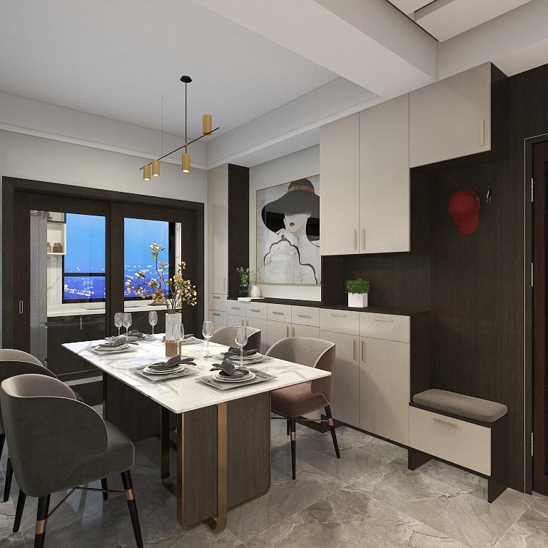 餐廳家具造型流暢線條設計,餐邊柜與玄關柜結合,整個空間充斥一種濃濃的摩登氣息。