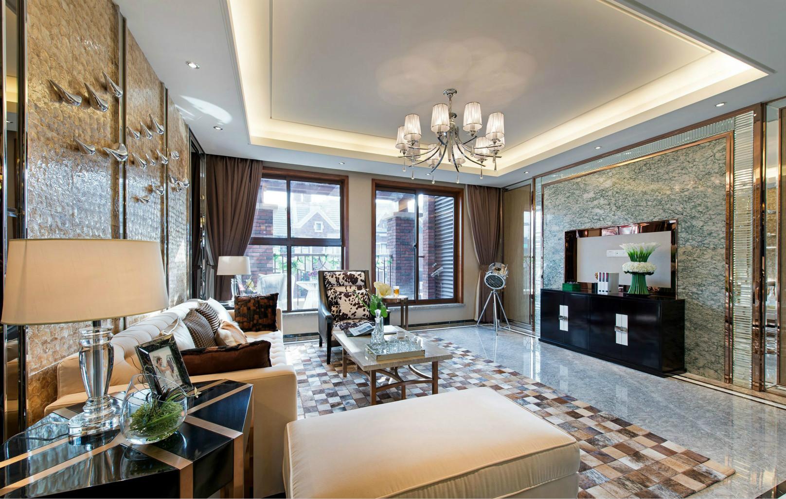 客厅一盏拥有美丽弧度的气氛灯。在充满时尚感的客厅中,会有画龙点睛的作用。