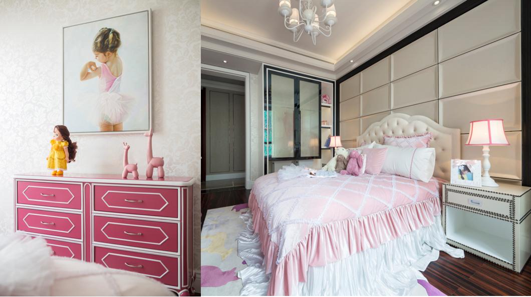 女孩房以粉色系为主,优雅复古的背景墙设计,华丽舒适感油然而生。