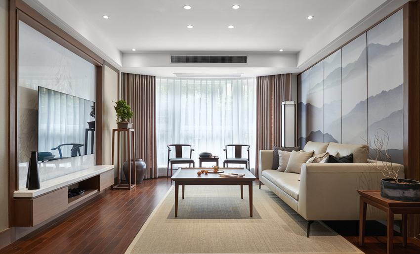 米色皮质沙发与亚麻地毯相互衬托,巧妙地融进氛围。